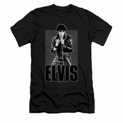 Elvis Presley Shirt Slim Fit Leather Charcoal T-Shirt