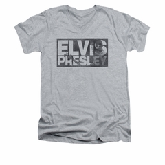 Elvis Presley Shirt Slim Fit V-Neck Block Letters Athletic Heather T-Shirt