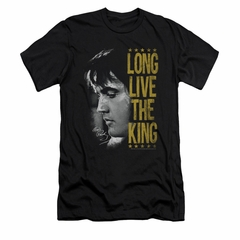 Elvis Presley Shirt Slim Fit V-Neck Long Live Black T-Shirt