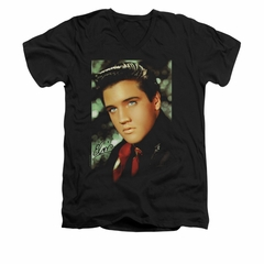Elvis Presley Shirt Slim Fit V-Neck Red Scarf Black T-Shirt