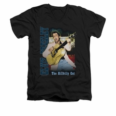 Elvis Presley Shirt Slim Fit V-Neck The Hillbilly Cat Black T-Shirt