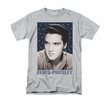Elvis T-shirt - Classic Rock King Blue Sparkle - Heather Grey