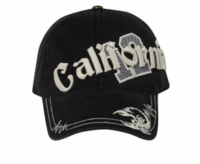 Embroidered California Design 3D Hat - Lackpard Cap - Black