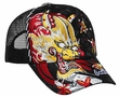 Embroidered Dragon Hat with Rhinestones Mesh Back Lackpard Cap Black