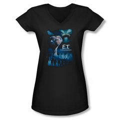 ET Shirts - Extra Terrestrial Shirt Juniors V Neck Going Home Black Tee T-Shirt