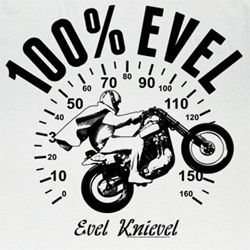 Evel Knievel Shirt 100 Miles Evil Adult White Tee T-Shirt