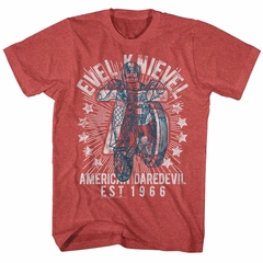 Evel Knievel Shirt 75 EST 1966 Red Heather T-Shirt