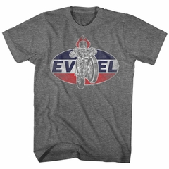 Evel Knievel Shirt Circle Logo Athletic Heather T-Shirt