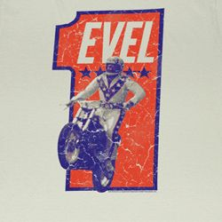 Evel Knievel Shirt Number One Adult Dirty White Tee T-Shirt