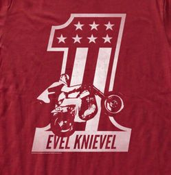 Evel Knievel Shirt Red One Adult Red Tee T-Shirt
