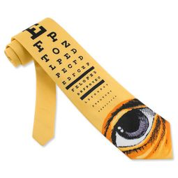 Eye Chart Tie Yellow Microfiber Necktie - Mens Occupational Neck Tie