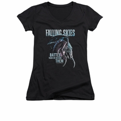 Falling Skies Shirt Juniors V Neck Battle Them Black T-Shirt
