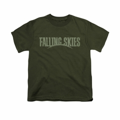 Falling Skies Shirt Kids Distressed Logo Olive Green T-Shirt