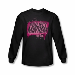Fight Club Shirt Project Mayhem Long Sleeve Black Tee T-Shirt