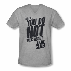 Fight Club Shirt Slim Fit V Neck Rule 1 Athletic Heather Tee T-Shirt
