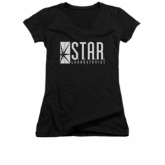 Flash Shirt Juniors V Neck Star Labs Black T-Shirt