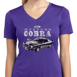 Ford 1974 Cobra Profile Ladies Moisture Wicking V-neck Shirt