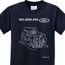 Ford Engine Parts Kids Shirts