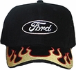 Ford Logo Hat - Flaming Embroidered Adjustable Cap