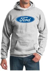 Ford Logo Hoodie Hooded Sweatshirt - Oval Emblem Adult Ash Hoody