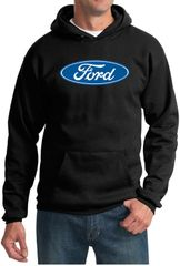 Ford Logo Hoodie Hooded Sweatshirt - Oval Emblem Adult Black Hoody