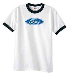 Ford Logo Ringer T-Shirts - Oval Emblem Adult Tee Shirts