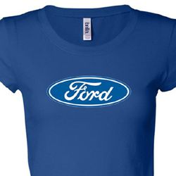 Ford Logo Shirt Oval Emblem Ladies Longer Length Tee T-Shirt