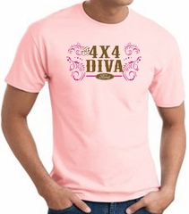 Ford Logo T-Shirt - 4x4 Diva Classic Car Adult Pink Tee Shirt
