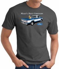 Ford Man's Best Friends Classic Truck Adult T-Shirt- Charcoal