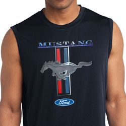 Ford Mens Shirt Mustang Stripe Sleeveless Moisture Wicking Tee T-Shirt