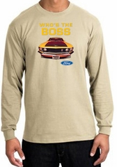 Ford Mustang Boss Long Sleeve Shirt - Who's The Boss 302 Sand T-Shirt