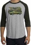 Ford Mustang Boss Raglan Shirts 302 Green Car 1970 Tee Shirts