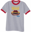 Ford Mustang Boss Ringer T-Shirt - Who's The Boss 302 Heather Grey/Red