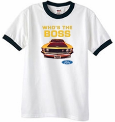 Ford Mustang Boss Ringer T-Shirt - Who's The Boss 302 White/Black Tee