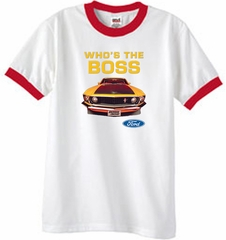 Ford Mustang Boss Ringer T-Shirt - Who's The Boss 302 White/Red Tee