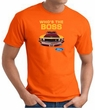 Ford Mustang Boss T-Shirt - Who's The Boss 302 Adult Orange Tee Shirt