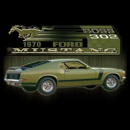 Ford Mustang Boss T-shirts 302 Green Car 1970 Shirts