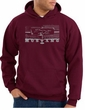 Ford Mustang Hoodie Hooded Sweatshirt Legend Honeycomb Grille Maroon