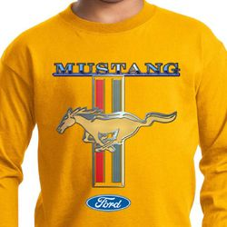 Ford Mustang Kids Shirt Mustang Stripe Long Sleeve Tee T-Shirt