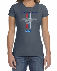 Ford Mustang Ladies Shirt Mustang Stripe Crewneck Tee T-Shirt