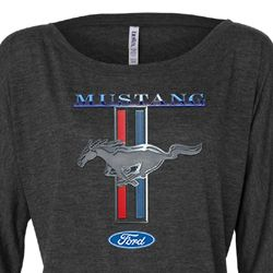Ford Mustang Ladies Shirt Mustang Stripe Off Shoulder Tee T-Shirt
