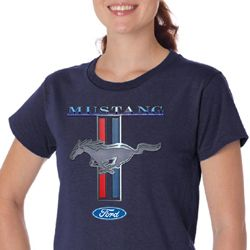 Ford Mustang Ladies Shirt Mustang Stripe Organic Tee T-Shirt