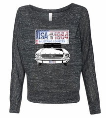 Ford Mustang Ladies Shirt USA 1964 Country Off Shoulder Tee T-Shirt