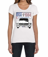 Ford Mustang Ladies Shirt USA 1964 Country Scoop Neck Tee T-Shirt
