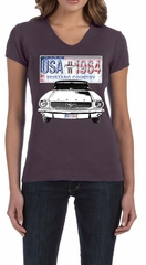Ford Mustang Ladies Shirt USA 1964 Country V-neck Tee T-Shirt