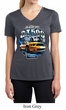Ford Mustang Ladies Shirt Yellow White GT500 Moisture Wicking V-neck