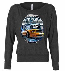 Ford Mustang Ladies Shirt Yellow White GT500 Off Shoulder Tee T-Shirt