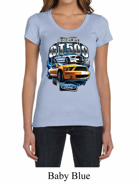6506d04f Ford Mustang Ladies Shirt Yellow White GT500 Scoop Neck Tee T-Shirt ...