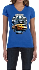 Ford Mustang Ladies Shirt Yellow White GT500 V-neck Tee T-Shirt