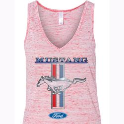 Ford Mustang Ladies Tanktop Mustang Stripe Flowy V-neck Tank Top